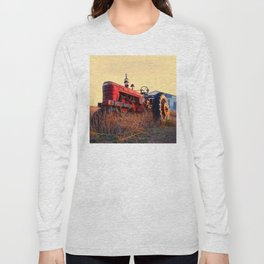 old tractor red machine vintage Long Sleeve T-shirt