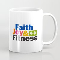 fitness Mugs featuring Faith Joy & Fitness by Maria Faith Garcia