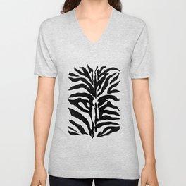 Black and white Zebra Stripes Design Unisex V-Neck