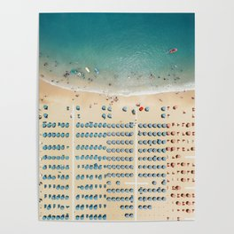 Aerial view of the beach in Rimini, Italy. Poster