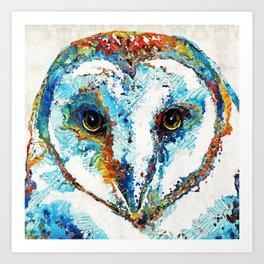 Colorful Barn Owl Art - Birds by Sharon Cummings Art Print