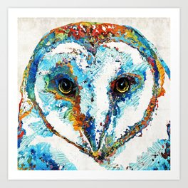 Colorful Barn Owl Art - Birds by Sharon Cummings Art Print