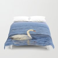 swan Duvet Covers featuring Swan by Susann Mielke