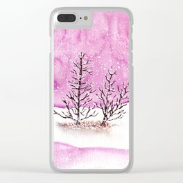 Winter Watercolor Painting Clear iPhone Case