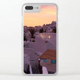 Oia, Santorini Greece at Sunset Clear iPhone Case