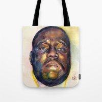 biggie Tote Bags featuring Biggie  by Kyle Miller