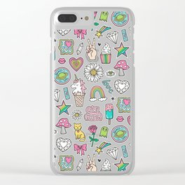 Patches Stickers 90's Doodle Unicorn Ice Cream, Rainbow, Hearts, Stars, Gemstones,Flowers Pink Clear iPhone Case