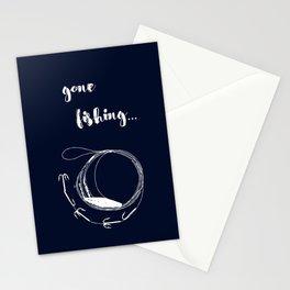 Gone fishing- illustration on marine blue Stationery Cards