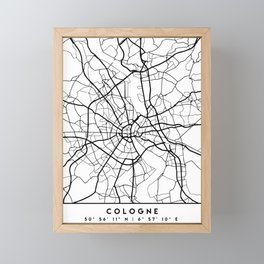 COLOGNE GERMANY BLACK CITY STREET MAP ART Framed Mini Art Print