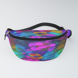 sexy kiss lipstick abstract pattern in pink blue orange red Fanny Pack