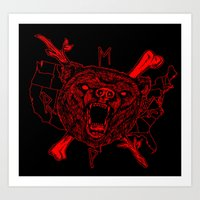 Animals and Tools- red bear Art Print