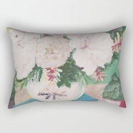 still life, painting, flowers, peony, book, succulents Rectangular Pillow