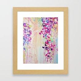 DANCE OF THE SAKURA - Lovely Floral Abstract Japanese Cherry Blossoms Painting, Feminine Peach Blue  Framed Art Print