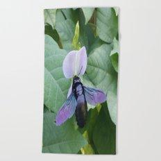 Between A Bee & A Flower Beach Towel