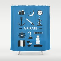 ouat Shower Curtains featuring OUAT - A Pirate by Redel Bautista