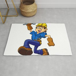 Running man with a wrench Rug