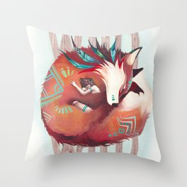 Wild - fox and girl sleeping together Throw Pillow