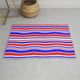 Red White Blue Waving Lines Rug