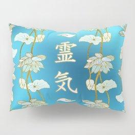 Reiki Healing hands Symbol with lotus on blue Pillow Sham