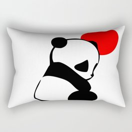 Shy Panda in the Red Sun Rectangular Pillow
