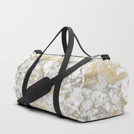 Modern chic faux gold white elegant marble Duffle Bag