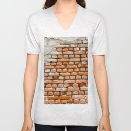 Background of red old vintage brick wall texture Unisex V-Neck