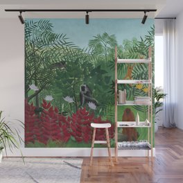 """Henri Rousseau """"Tropical Forest with Monkeys (A Tropical Forest with Apes and Snake)"""" Wall Mural"""