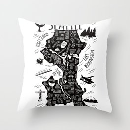 Seattle Illustrated Map in Black and White - Single Print Throw Pillow