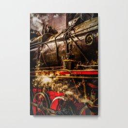 Old Train In Steam Metal Print