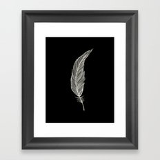 One Feather - White & Black Framed Art Print