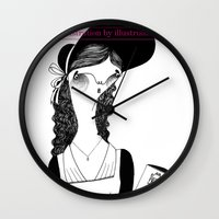 pride and prejudice Wall Clocks featuring Pride & Prejudice /// by illustrissima by illustrissima