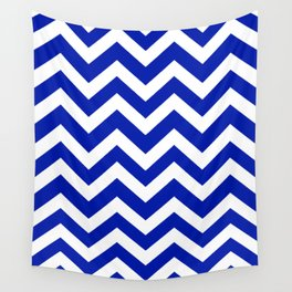Blue (Pantone) - blue color - Zigzag Chevron Pattern Wall Tapestry