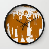 reservoir dogs Wall Clocks featuring Reservoir Awesome by Doctorductape