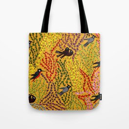 Hanging gardens, birds and flowers, kashmiri paper mache pattern Tote Bag