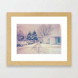 Akita winter Framed Art Print