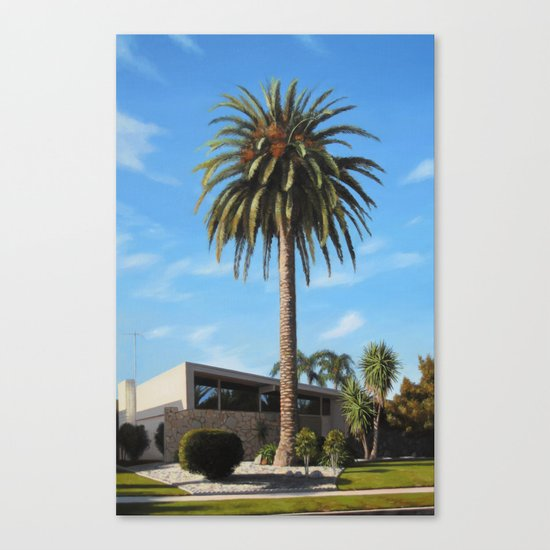 Krisel House With Queen Palm Canvas Print