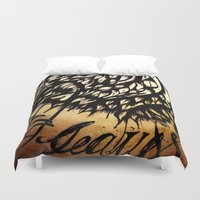 coca cola Duvet Covers featuring Coca Leaves by Selecto