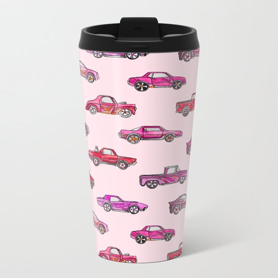 Little Toy Cars in Watercolor on Pink Metal Travel Mug