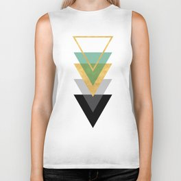 FIVE GEOMETRIC ABSTRACT HOLLOW PYRAMIDS TRIANGLE Biker Tank