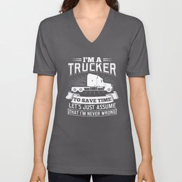 I'm a Trucker Truck Driver Vehicle Monster Truck Design Unisex V-Neck