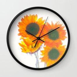 Sunflowers On White Wall Clock