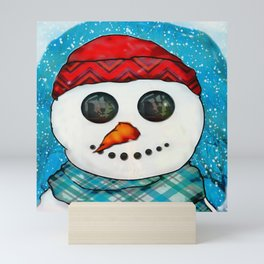 Reflections Christmas Snowman Folk Art Mini Art Print