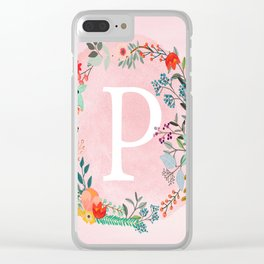 Flower Wreath with Personalized Monogram Initial Letter P on Pink Watercolor Paper Texture Artwork Clear iPhone Case