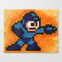mega man Canvas Prints featuring Mega Man by Alison Hinch