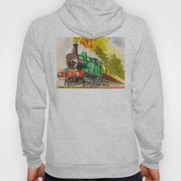 Vintage Mid Century Travel Poster British Railways Steam Engine Watercolor Illustration Hoody