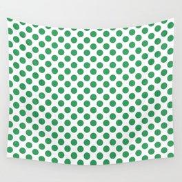 Kelly Green Small Polka Dots Wall Tapestry