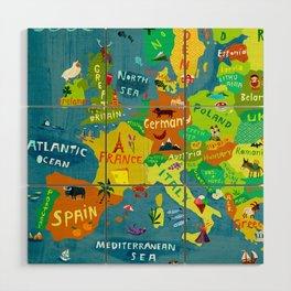 Map of Europe Wood Wall Art