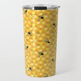 Bees on Honeycomb Pattern Travel Mug