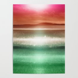 """Rose Orange sky over teal emerald sea South"" Poster"