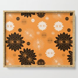 Antiqued Flowers Gold Serving Tray